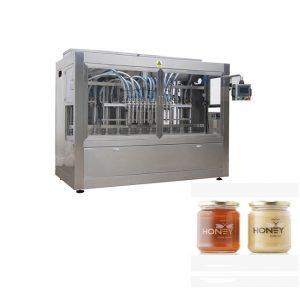 पीएलसी कंट्रोल 8 नोजल्स पेस्ट फिलिंग मशीन, 400 जी ग्लास जैम जार फिलिंग मशीन