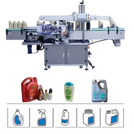 5-25L तेल डिटर्जेंट / शैम्पू ड्रम के लिए स्वचालित डबल साइड बोतल लेबलिंग मशीन